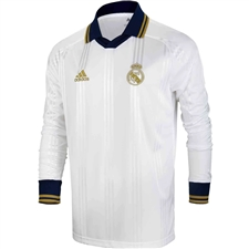 Adidas Real Madrid Icons L/S Retro Jersey (White/Black)