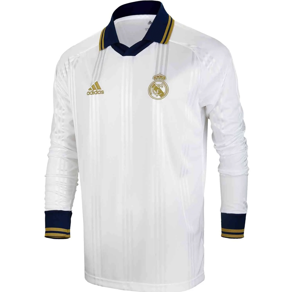 28f589d83 Adidas Real Madrid Icons L/S Retro Jersey (White/Black) | Real ...