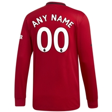 Adidas Manchester United 'CUSTOM' Home Long Sleeve Jersey '19-'20 (Real Red)