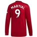 Adidas Manchester United 'MARTIAL 9' Home Long Sleeve Jersey '19-'20 (Real Red)