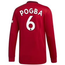Adidas Manchester United 'POGBA 6' Home Long Sleeve Jersey '19-'20 (Real Red)