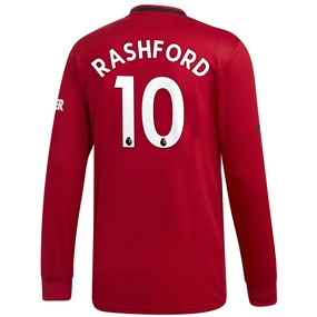 Adidas Manchester United 'RASHFORD 10' Home Long Sleeve Jersey '19-'20 (Real Red)