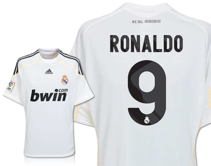 detailed look 0f6f0 76a57 Adidas Real Madrid RONALDO 9 Home Replica '09-'10 Jersey (White)