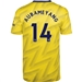 Adidas Arsenal 'AUBAMEYANG 14' Away Authentic Jersey '19-'20 (Equipment Yellow)