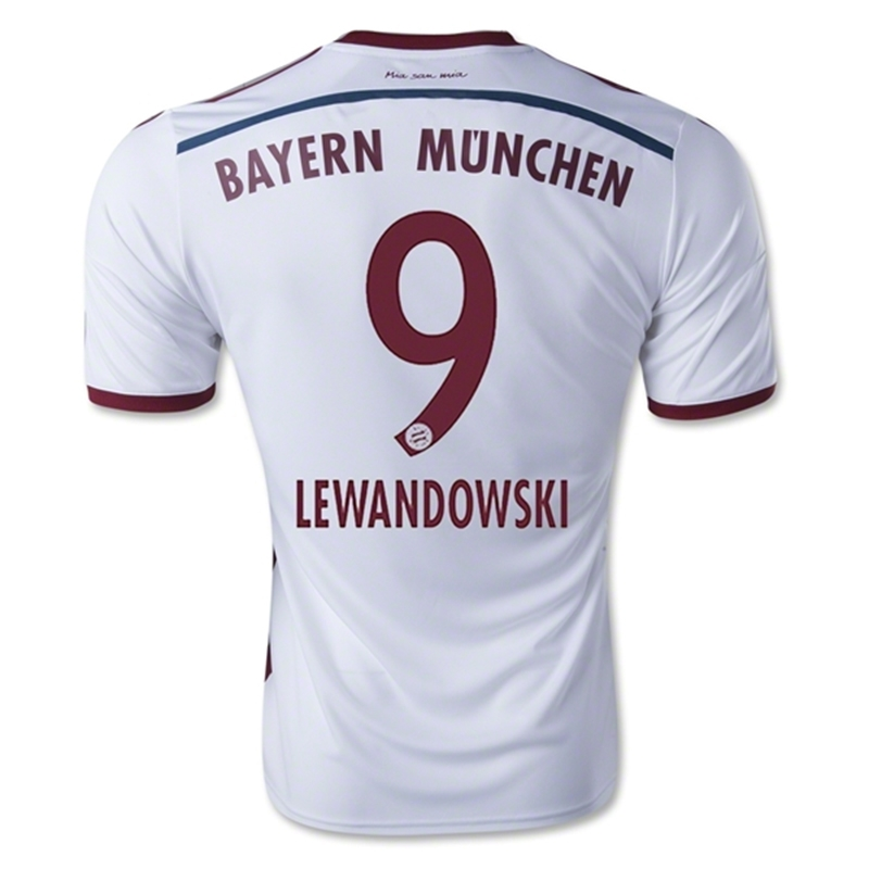 more photos f5207 c0ab1 Adidas Bayern Munich 'LEWANDOWSKI 9' Away '14-'15 Soccer Jersey
