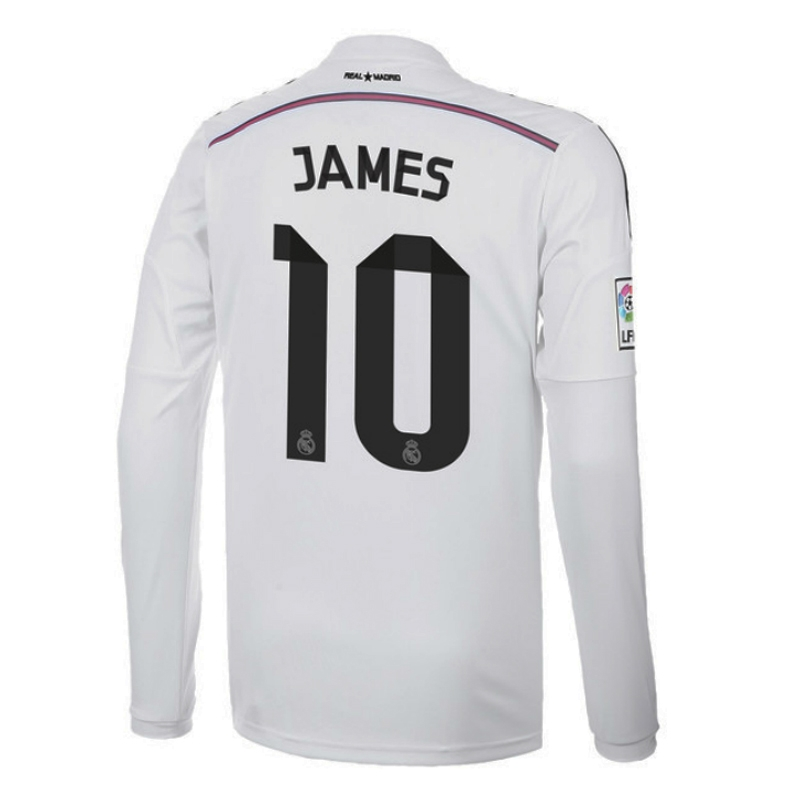 a58bc56d35d $112.49 - Adidas Real Madrid 'JAMES 10' Home '14-'15 Long Sleeve ...
