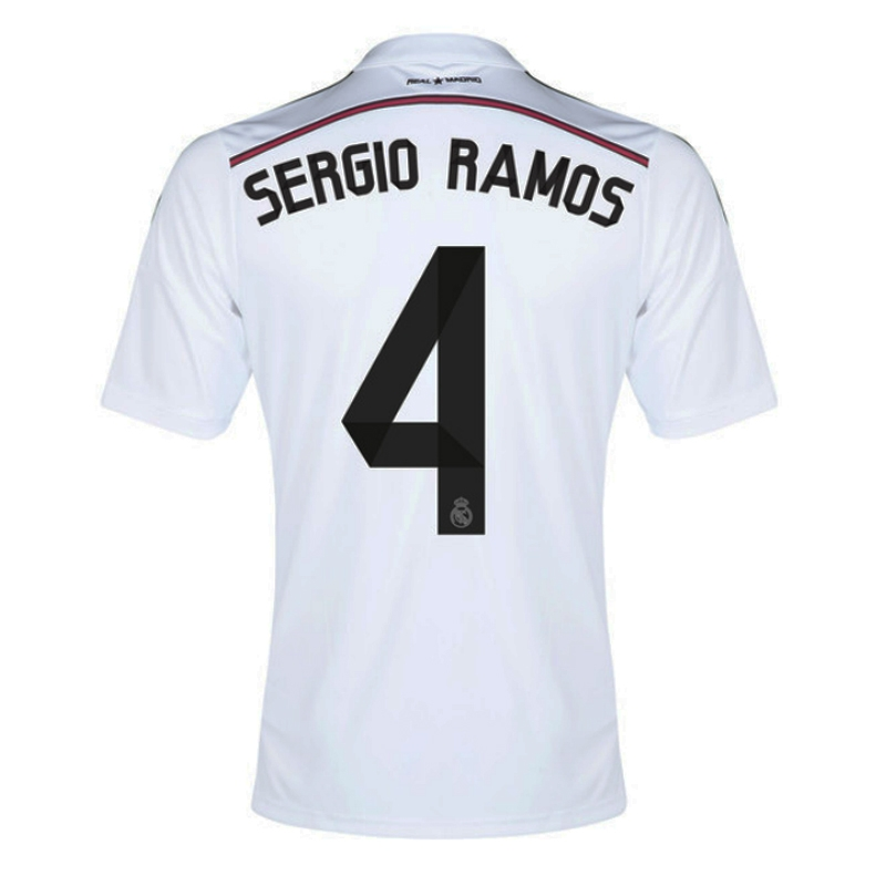 timeless design 59fb2 6e5d9 Adidas Real Madrid 'SERGIO RAMOS 4' Home '14-'15 Replica Soccer Jersey  (White/Black/Blast Pink)