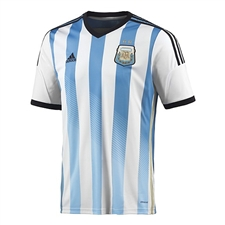 Adidas Argentina Home 2014 Replica Soccer Jersey (White/Columbia Blue/Argentina Blue/Black)