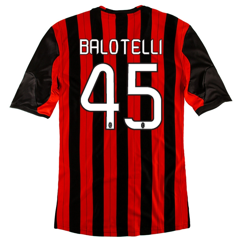 finest selection 527fe 7c426 Adidas AC Milan 'BALOTELLI 45' Home '13-'14 Replica Soccer Jersey  (Red/Black/White)