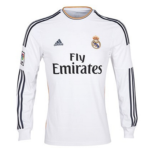 880f0a0fb51 Real Madrid Soccer Jerseys | G81098 | Real Madrid 2013-2014 Home LS Jersey  | SoccerCorner.com