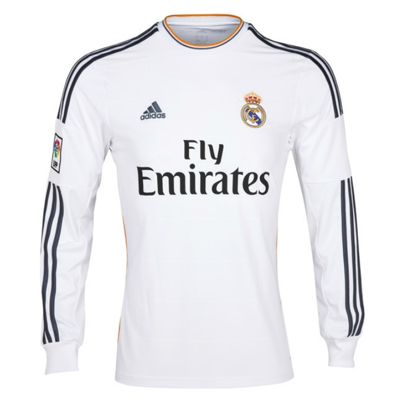low priced 7dbb9 3918f Adidas Real Madrid 'BENZEMA 9' Long Sleeve Home '13-'14 Replica Soccer  Jersey (White/Lead/Orange)