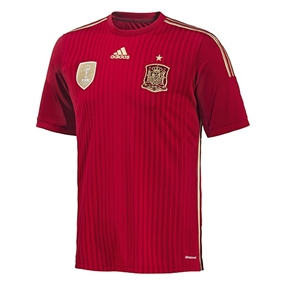 Adidas Spain Home 2014 Replica Soccer Jersey (Victory Red/Light Football Gold/Toro)