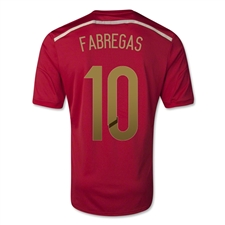 Adidas Spain 'FABREGAS 10' Home 2014 Replica Soccer Jersey (Victory Red/Light Football Gold/Toro)