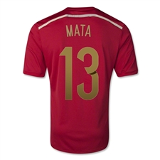 Adidas Spain 'MATA 13' Home 2014 Replica Soccer Jersey (Victory Red/Light Football Gold/Toro)