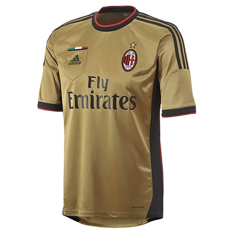 sports shoes ab38d ab91e Adidas AC Milan Third 2013-14 Replica Soccer Jersey (Dark Gold/Black)