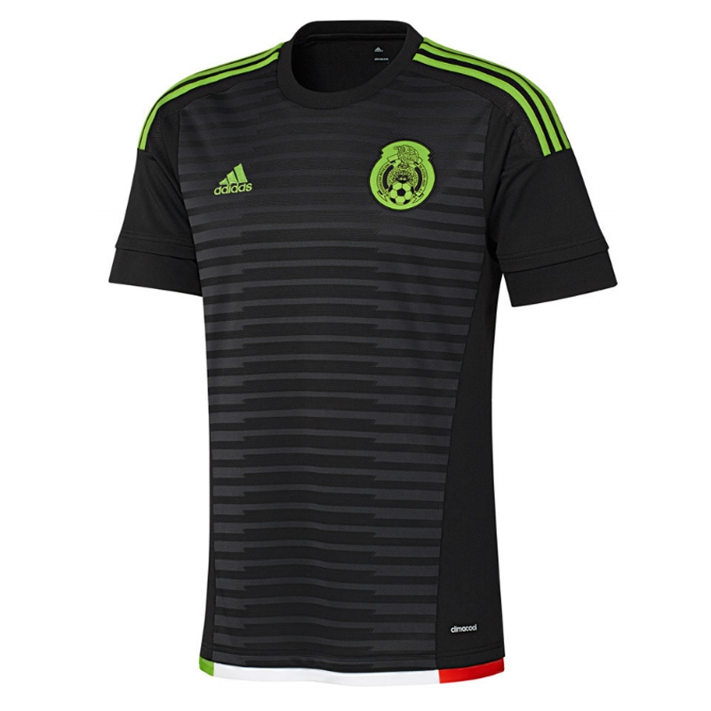 103f95d4502  62.95 -Adidas Mexico Home 2015 Replica Soccer Jersey (Black Dark Grey Semi  Solar Green Hi Res Red)