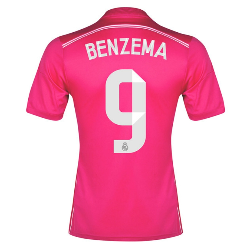 promo code 04ecb 5d788 Adidas Real Madrid 'BENZEMA 9' Away '14-'15 Soccer Jersey (Pink/White)