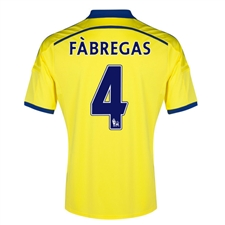 Adidas Chelsea 'FABREGAS 4' Away '14-'15 Replica Soccer Jersey (Yellow/Chelsea Blue)