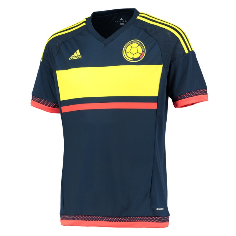 Adidas Colombia Away 2016 Soccer Jersey (Collegiate Navy/Yellow/Red)