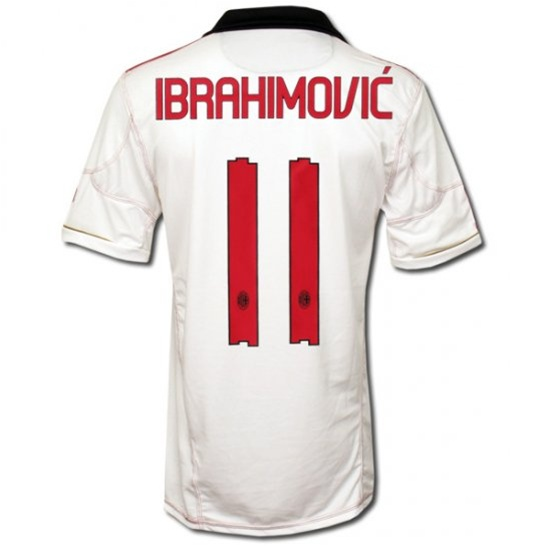 new styles 0513b 7b7a1 Adidas AC Milan Adult Away IBRAHIMOVIC 11 '10-'11 Replica Jersey (White)