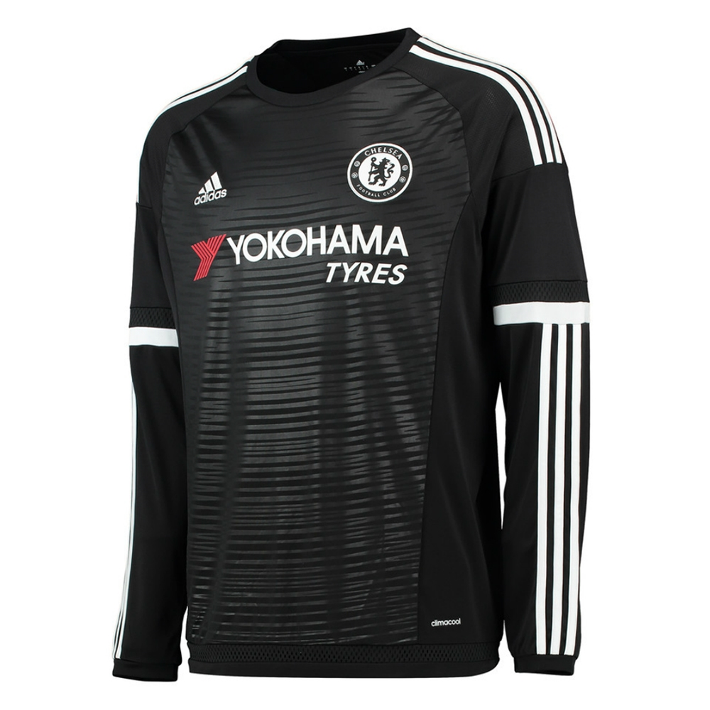 size 40 1573c 950df Adidas Chelsea 'CUSTOM' Third '15-'16 Long Sleeve Replica Soccer Jersey  (Black/White)