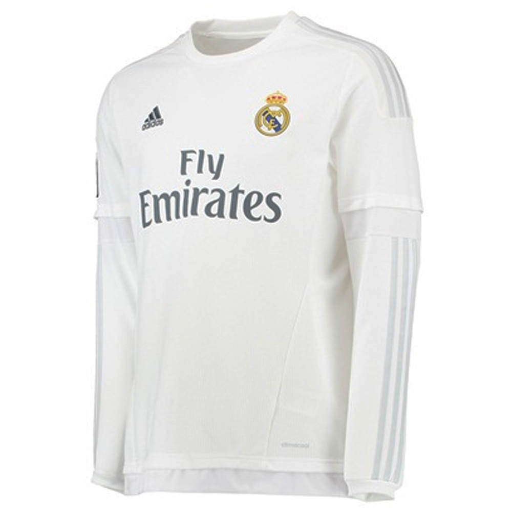 0df9cf170 Real Madrid Home  15- 16 Long Sleeve Replica Soccer Jersey (White Clear  Grey)