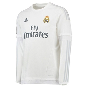 Adidas Real Madrid Home '15-'16 Long Sleeve Replica Soccer Jersey (White/Clear Grey)