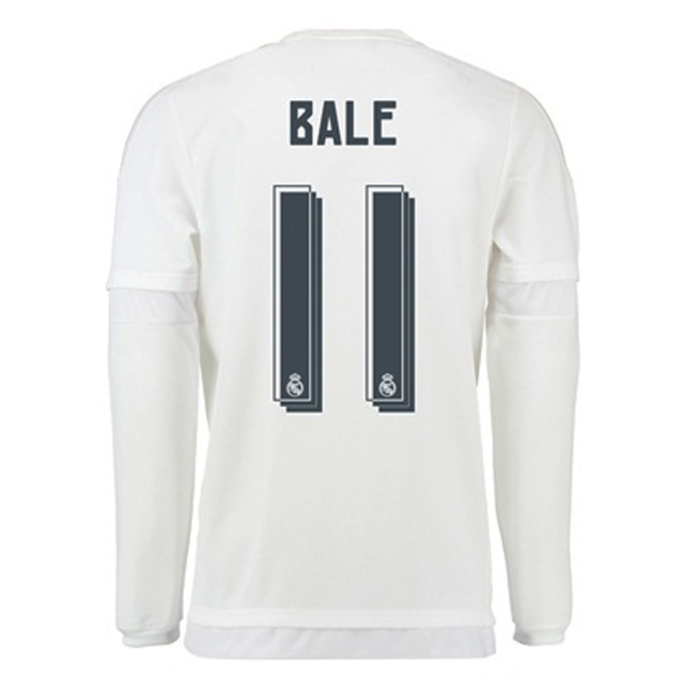 huge discount 81dad 76612 Adidas Real Madrid 'BALE 11' Home '15-'16 LS Soccer Jersey (White/Clear  Grey)