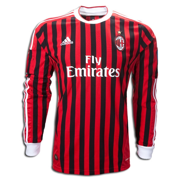 sports shoes 7c4a3 a7446 Adidas AC Milan Home Long-Sleeve '2011-2012 Replica Soccer Jersey  (Red/Black/White)