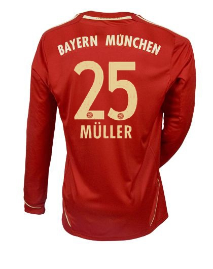 official photos ec1cc 57273 Adidas Bayern Munich 'MULLER 25' Home '11-'12 Long Sleeve Replica Soccer  Jersey (University Red/Metallic Gold)