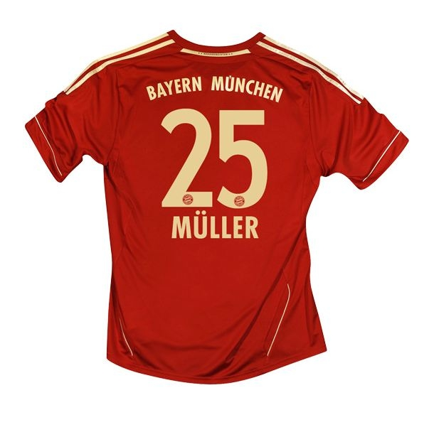 new product 069f6 bc7d7 Adidas Bayern Munich 'MULLER 25' Home '11-'12 Replica Soccer Jersey  (University Red/Metallic Gold)