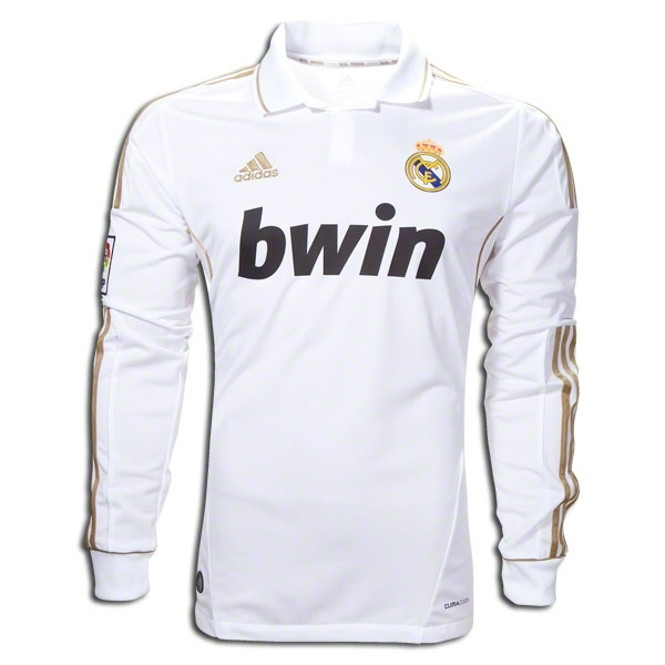 hot sale online 1bd2b 45110 Adidas Real Madrid Home Long Sleeve '11-'12 Replica Soccer Jersey  (White/Gold)