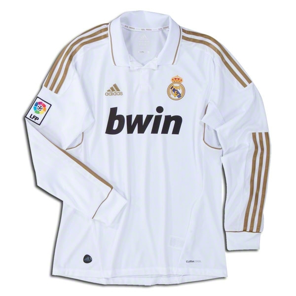 hot sale online 47b1e ba35b Adidas Real Madrid Home Long Sleeve '11-'12 Replica Soccer Jersey  (White/Gold)