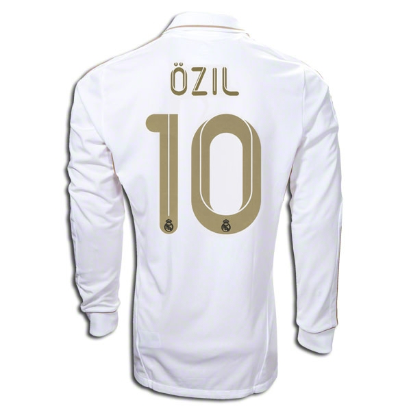 Real Madrid Long Sleeve Ozil 2011-2012 Home Jersey  406818963