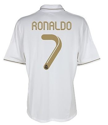 wholesale dealer 98c30 c9374 Adidas Real Madrid RONALDO Home '11-'12 Replica Soccer Jersey (White/Gold)
