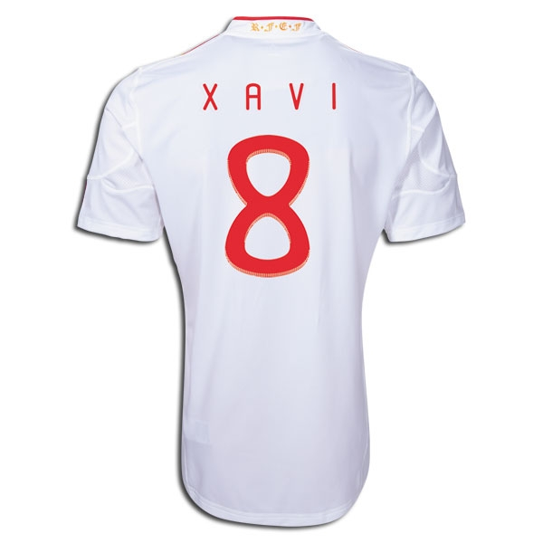 differently af75f 237a3 Adidas Spain XAVI Away World Cup Winners 2011 Replica Soccer Jersey  (White/Red)