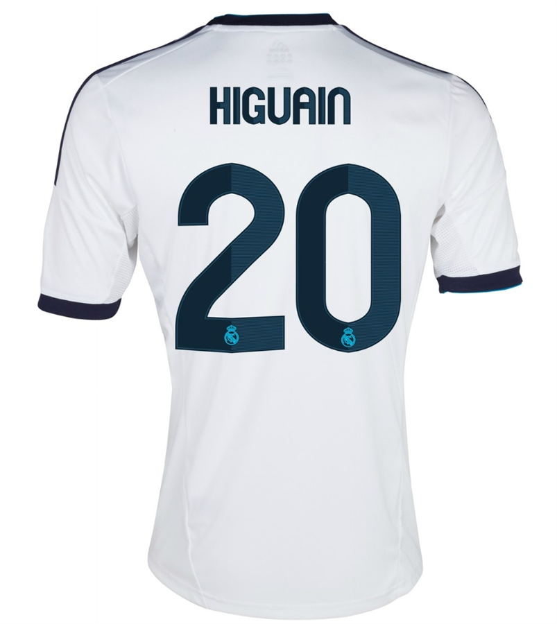 online store 3801c 7cc0e Adidas Real Madrid 'HIGUAIN 20' Home '12-'13 Replica Soccer Jersey  (White/Navy)