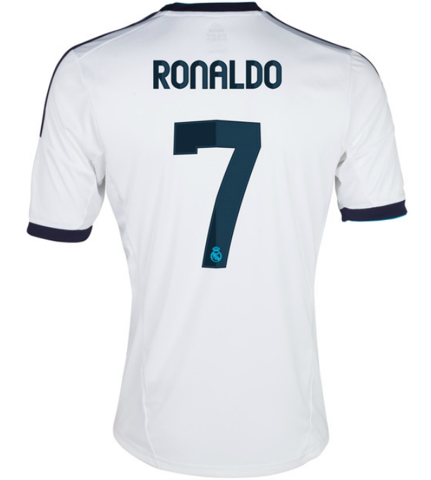 dfa123d81 Adidas Real Madrid RONALDO 7 Home '12-'13 Replica Soccer Jersey  (White/Navy) | Real Madrid Soccer Jerseys| SoccerCorner.com