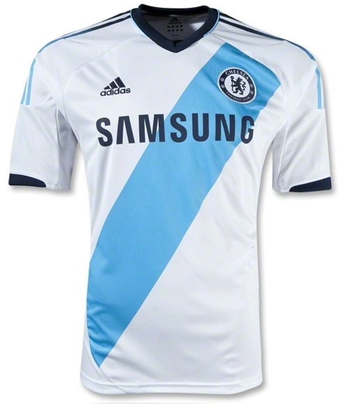 official photos 6b0ae 4f05b Adidas Chelsea Away '12-'13 Replica Soccer Jersey (White/Aqua/Blue)