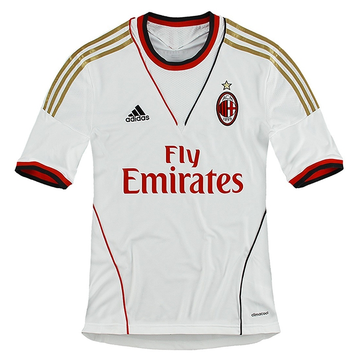 cheap for discount d5e34 fa78f Adidas AC Milan Away 2013-2014 Replica Soccer Jersey (White/Red)