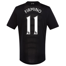 New Balance Liverpool 'FIRMINO 11' Away '16-'17 Replica Soccer Jersey (Black)