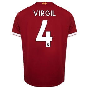 New Balance Liverpool 'VIRGIL 4' Home Authentic '17-'18 Soccer Jersey (Red)