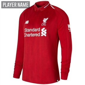New Balance Liverpool Home Long Sleeve Jersey '18-'19 (Red Pepper)