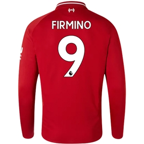 New Balance Liverpool 'FIRMINO 9' Home Long Sleeve Jersey '18-'19 (Red Pepper)