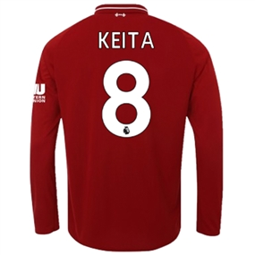 New Balance Liverpool 'KEITA 8' Home Long Sleeve Jersey '18-'19 (Red Pepper)