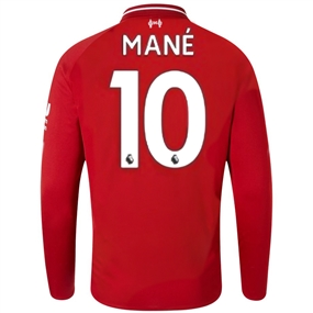 New Balance Liverpool 'MANE 10' Home Long Sleeve Jersey '18-'19 (Red Pepper)