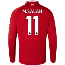New Balance Liverpool 'M. SALAH 11' Home Long Sleeve Jersey '18-'19 (Red Pepper)