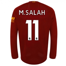 New Balance Liverpool 'M. SALAH 11' Long Sleeve Home Jersey '19-'20 (Red Pepper/White)
