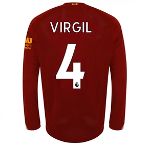 New Balance Liverpool 'VIRGIL 4' Long Sleeve Home Jersey '19-'20 (Red Pepper/White)