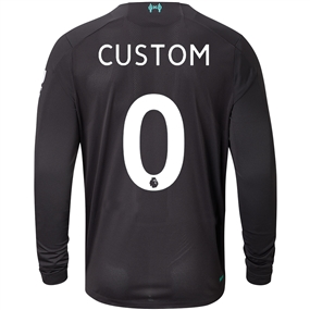 New Balance Liverpool 'CUSTOM' Third Long Sleeve Jersey '19-'20 (Black/White/Teal)